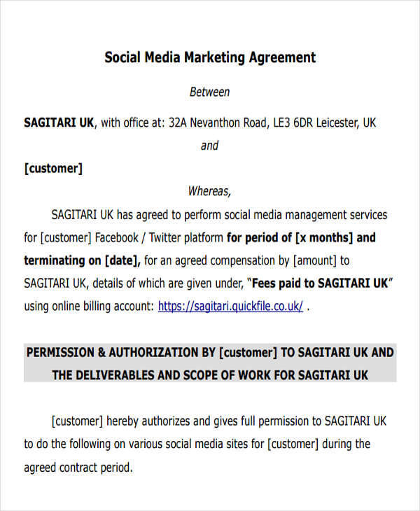 Marketing Agreement Samples And Templates  Pdf