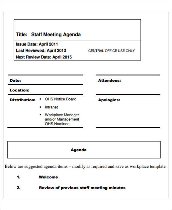 staff meeting agenda example