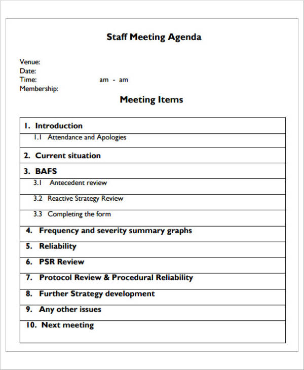 23+ Meeting Agenda Samples and Templates - PDF, Word