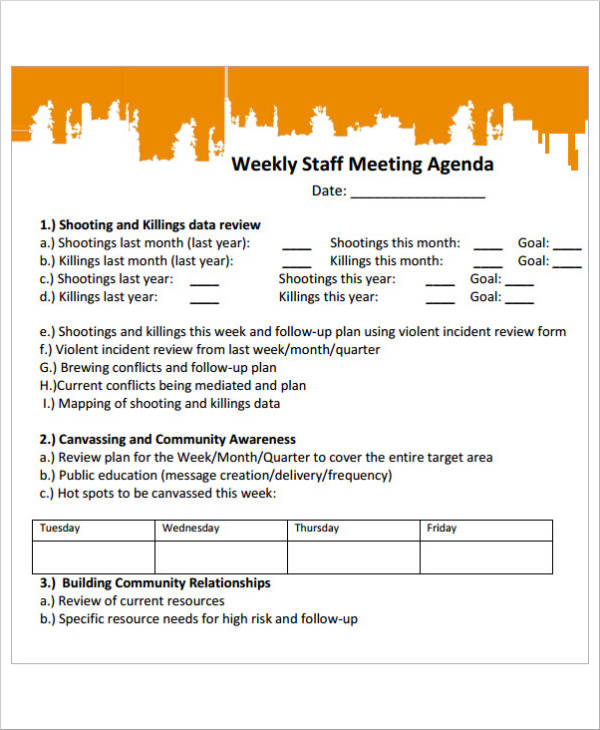 staff meeting agenda sample