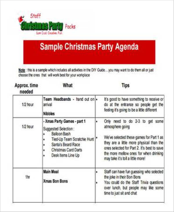 staff party agenda sample