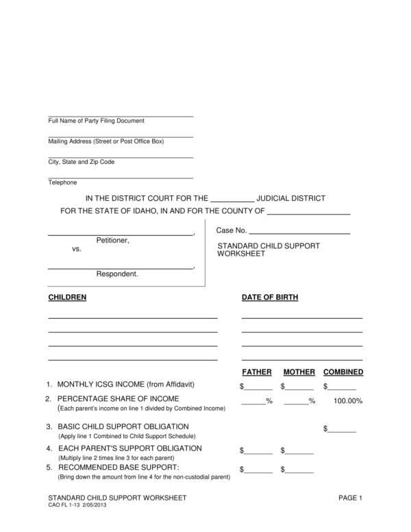 standard child support worksheet 1