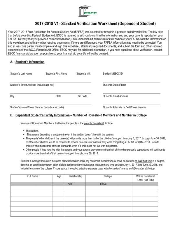 standard dependent verification worksheet 1