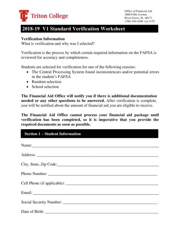 standard verification worksheet for financial aid 1