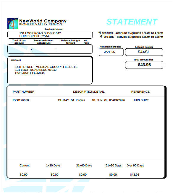 statement of account form