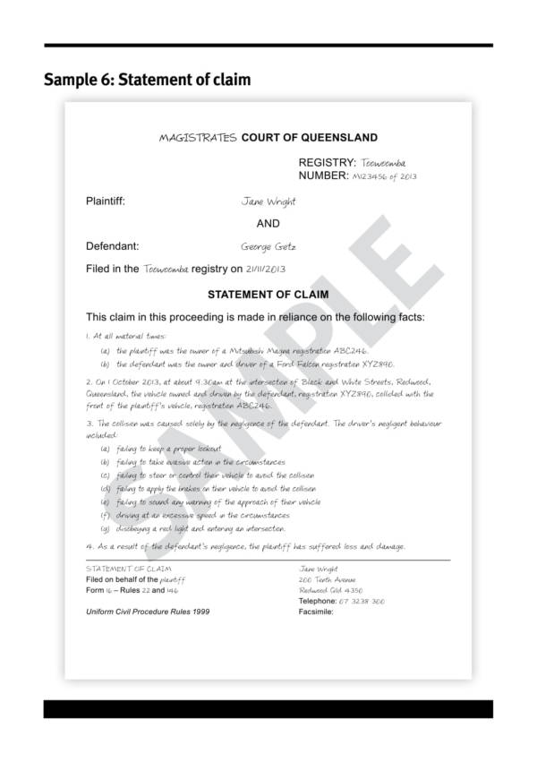 statement of claim sample for vehicular accident 1