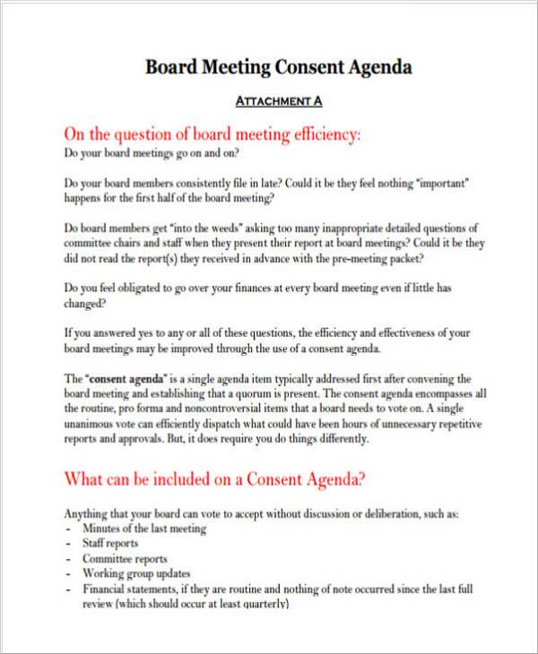 strategic board meeting agenda