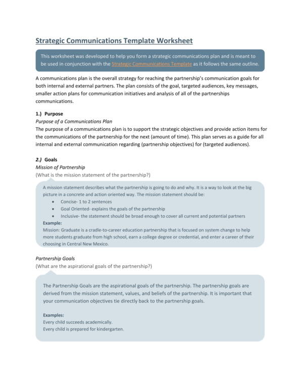 strategic communications worksheet template 01