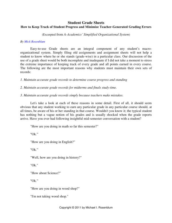 student grading worksheet template 1