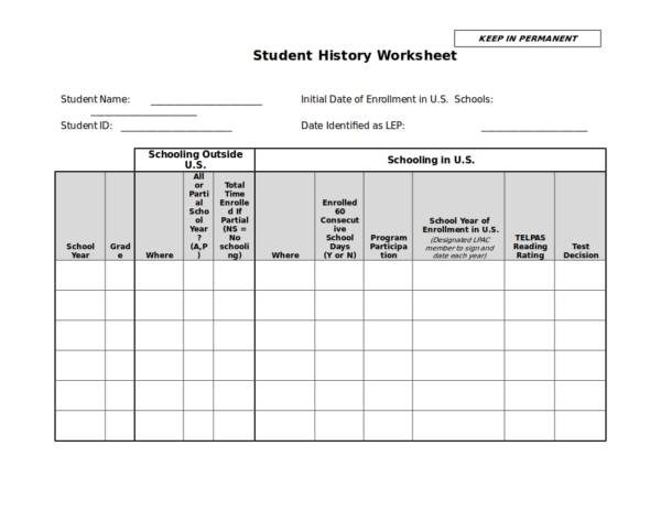 student history worksheet template