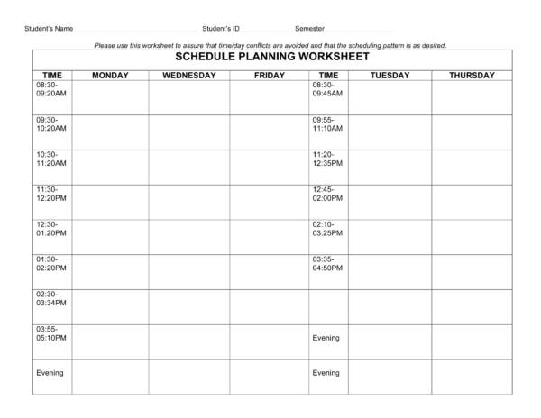 student schedule planning worksheet 1