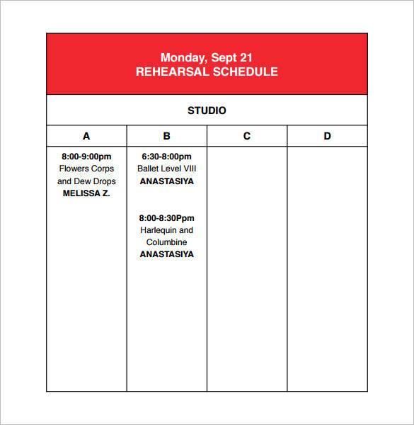 studio rehearsal schedule template