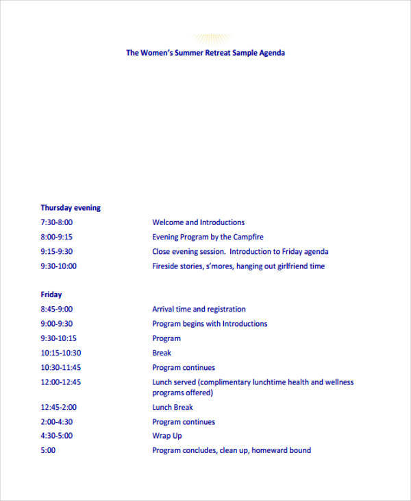 summer retreat agenda template