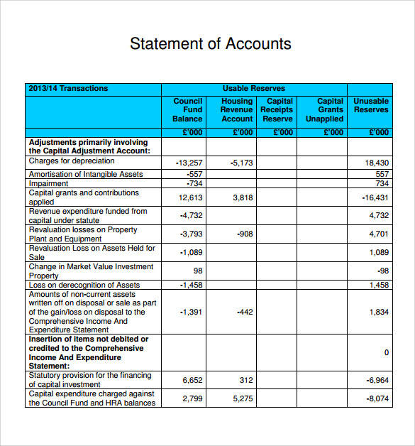 tabulated statement of account template