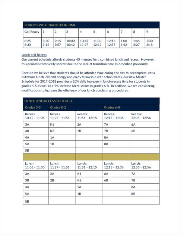 teacher master schedule sample