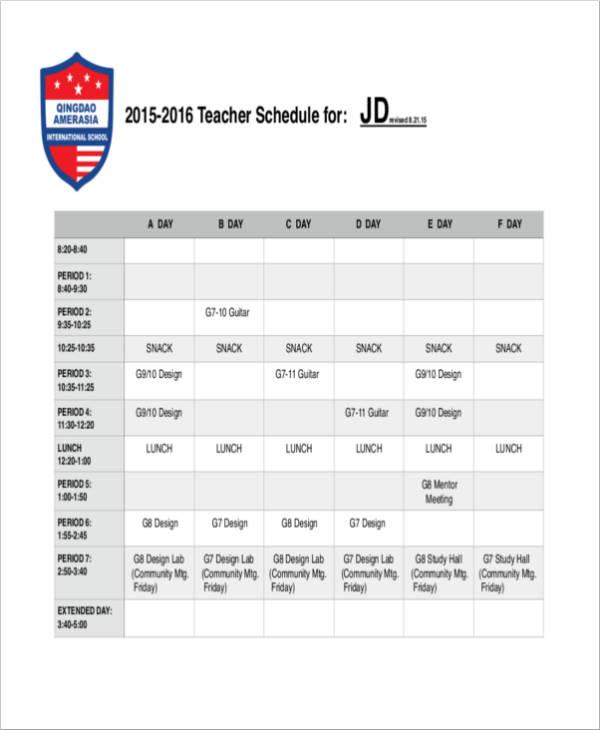 teacher schedule template