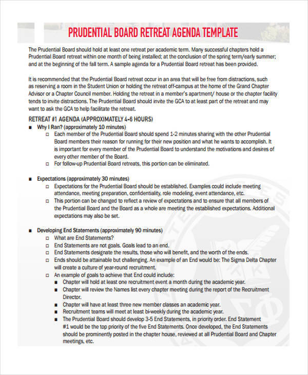 10  retreat agenda templates