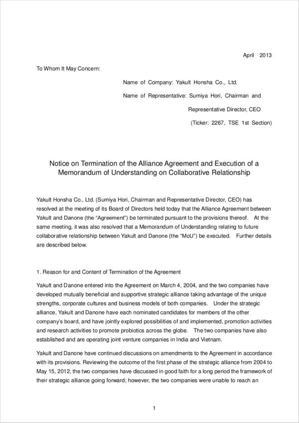 termination letter of the alliance agreement