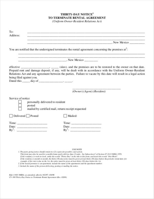 thirty day notice termination letter to terminate rental agreement