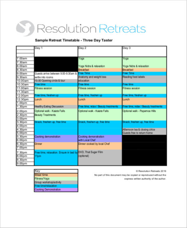 three day taster retreat sample retreat schedule