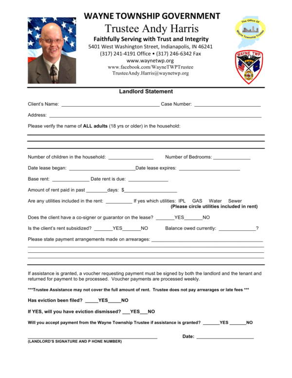 township landlord statement form 1
