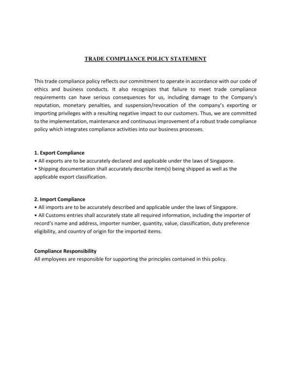 trade compliance policy statement 1