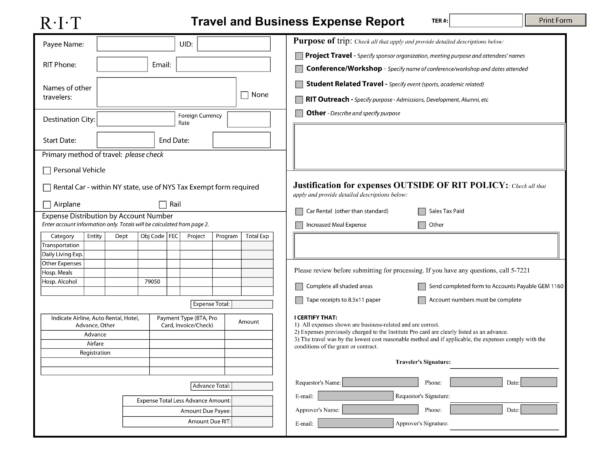 travel and business expense report spreadsheet 1