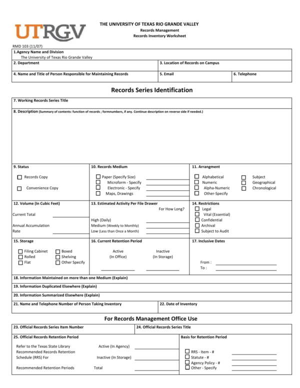 university record inventory worksheet 1