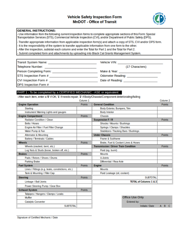 vehicle inspection worksheet template
