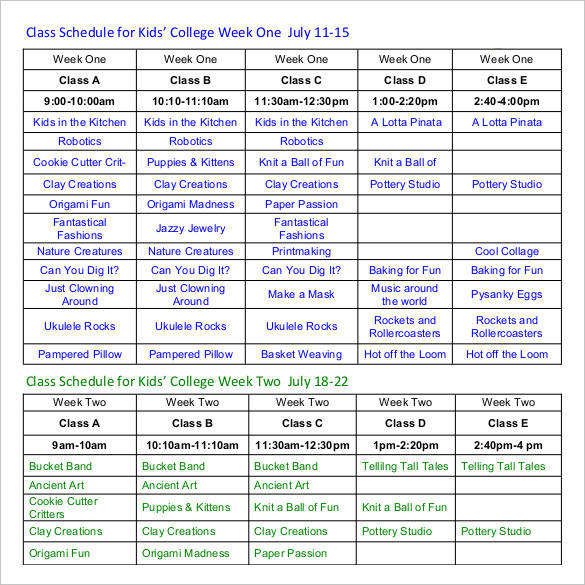 weekly college group schedule template