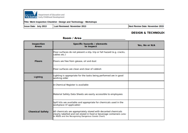 workplace inspection worksheet