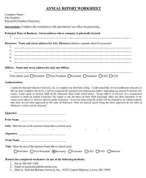 annual report worksheet sample