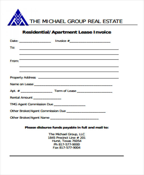 real estate commission invoice template  10  Real Estate Invoice Templates – PDF, Word, Excel | Sample Templates