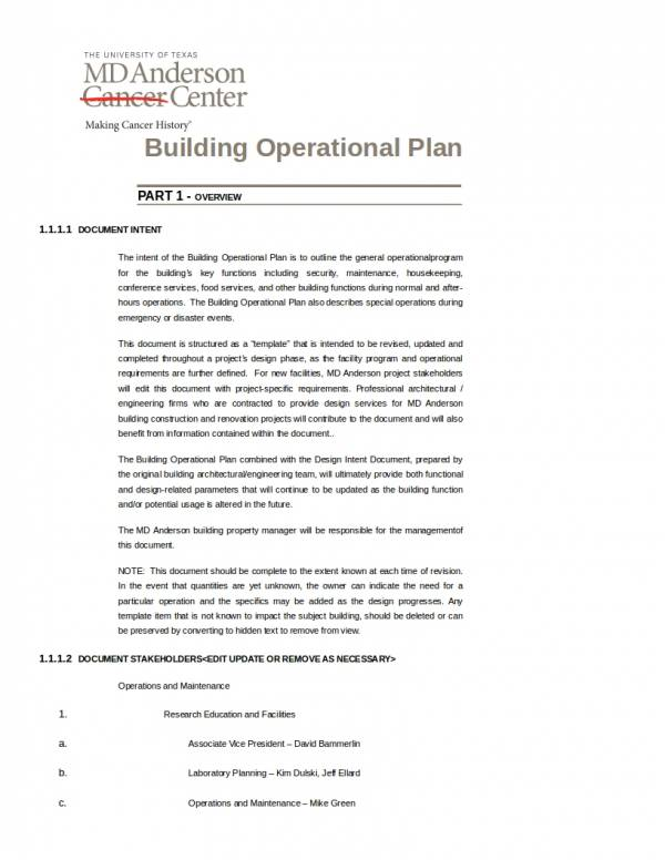building operational plan template