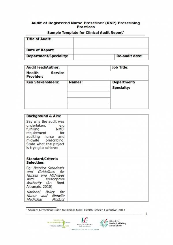 clinical audit report template for registered nurse prescriber