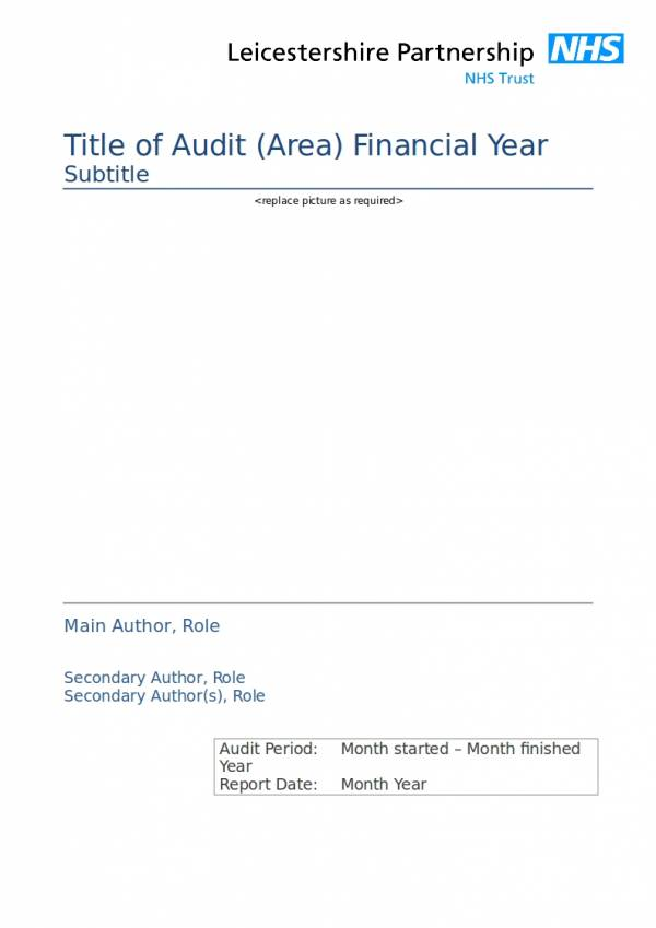 clinical audit template report