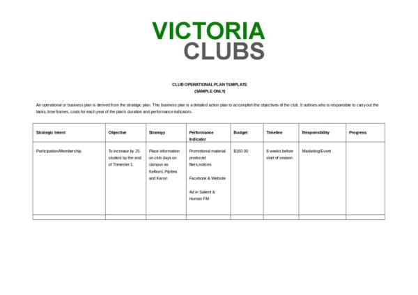 club opertional plan template