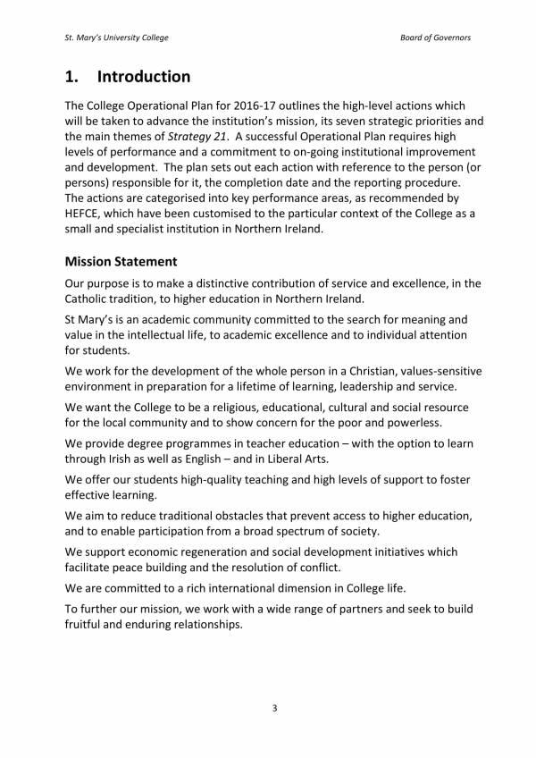 college operational plan sample 03