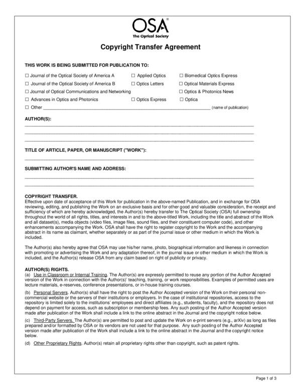 copyright transfer agreement template 001