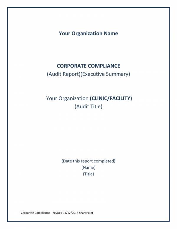 corporate compliance audit report template 1