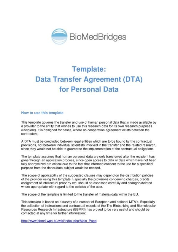 data transfer agreement template 001