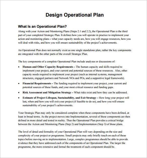 design operational plan sample template