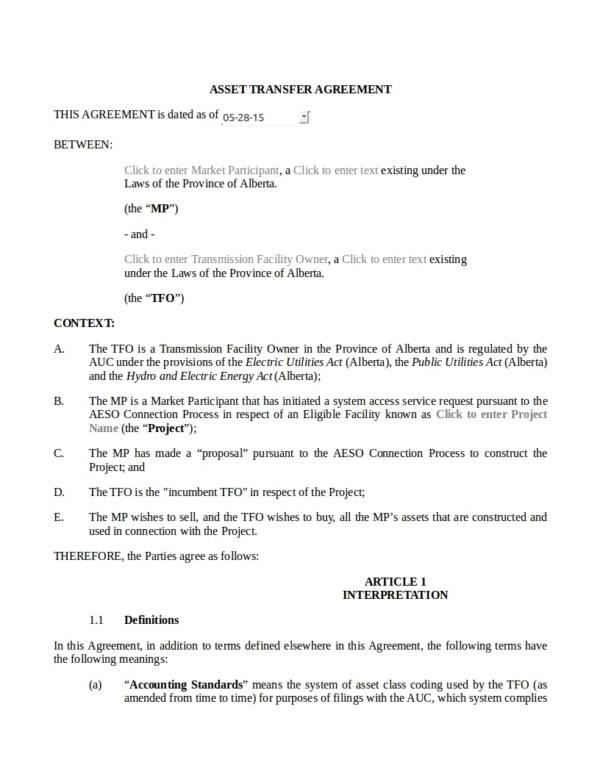 editable asset transfer agreement template