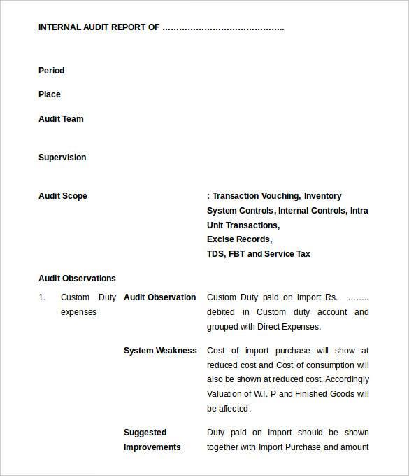 editable internal audit report format