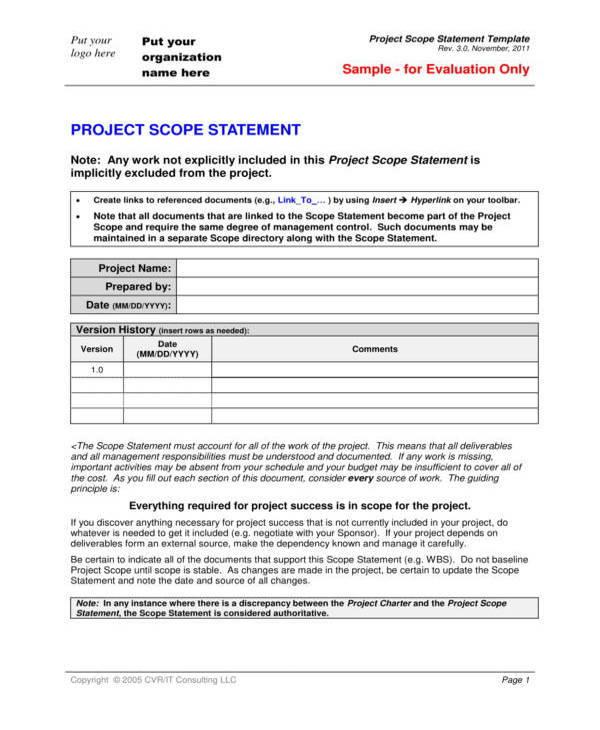 editable scope statement template