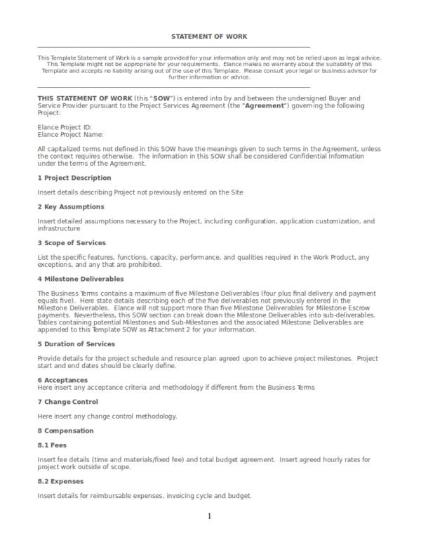 editable statement of work template
