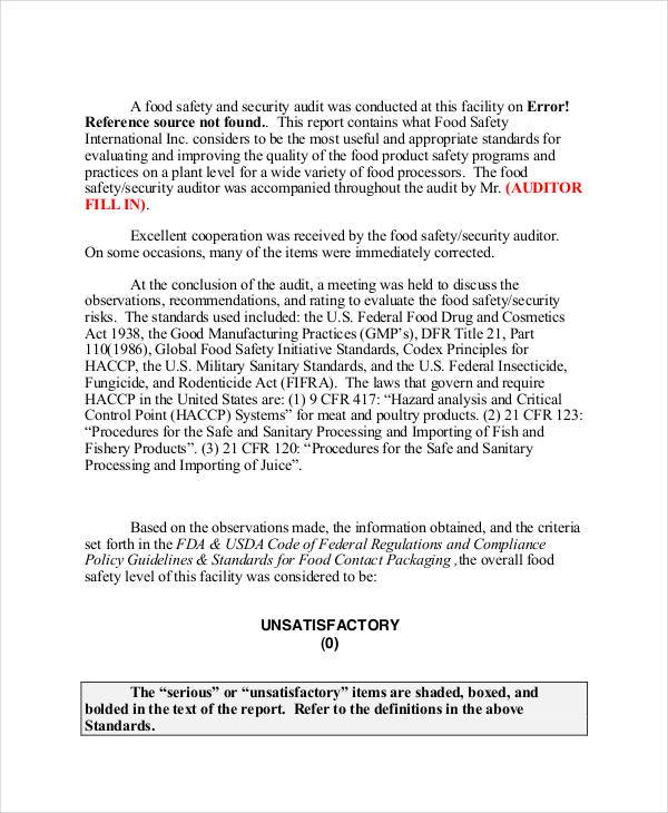 food safety audit report template