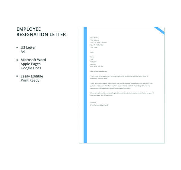 Free-Employee-Resignation-Letter Mac Resignation Letter Template on free printable company, 2 week notice, for school aide,