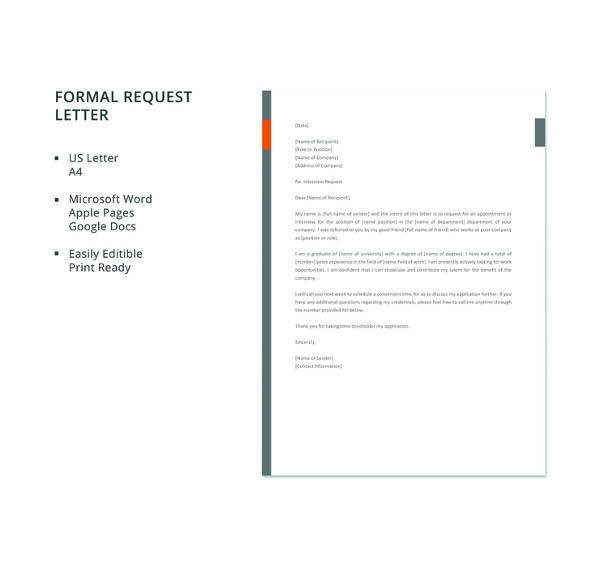 10 sample formal request letters pdf word apple pages sample free formal request letter template spiritdancerdesigns Image collections