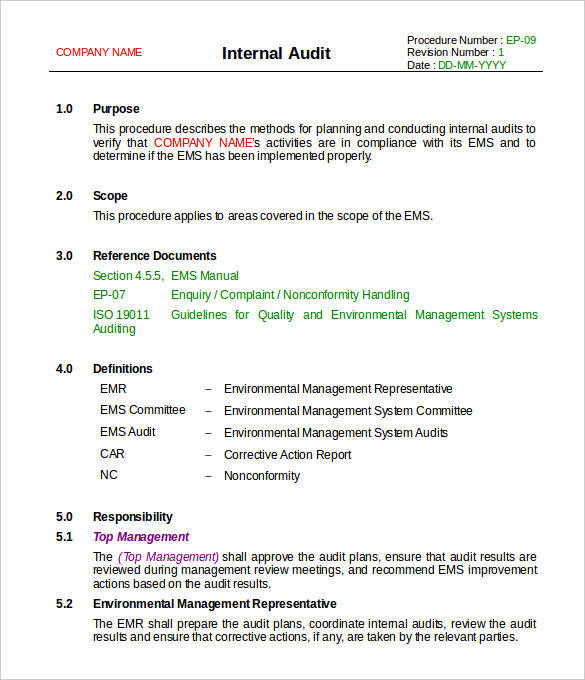 free internal audit report template
